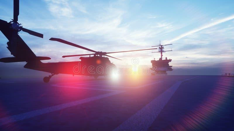 Militarny śmigłowcowy Blackhawk zdejmuje od lotniskowa w ranku w niekończący się błękitnym oceanie ?wiadczenia 3 d ilustracja wektor
