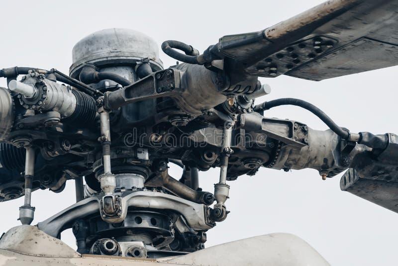 Militarny śmigłowcowy rotorowego ostrza szczegół w górę obraz stock