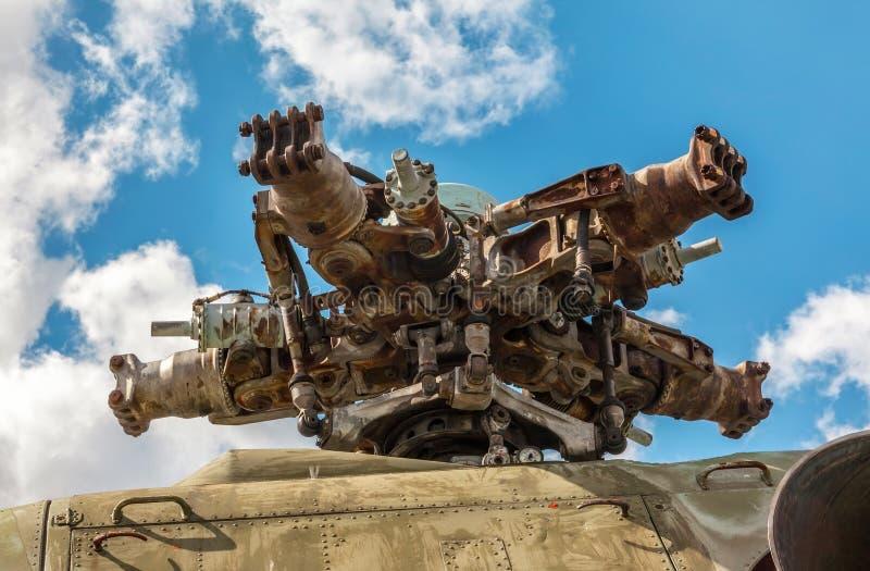 Militarny śmigłowcowy rotorowego ostrza szczegółu zakończenie up fotografia royalty free