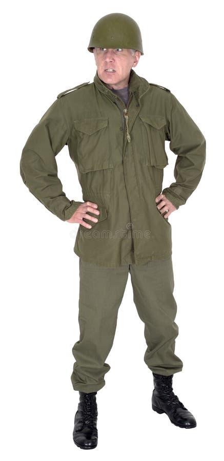 Militarny żołnierza dowóca wojskowy lider Odizolowywający zdjęcia stock