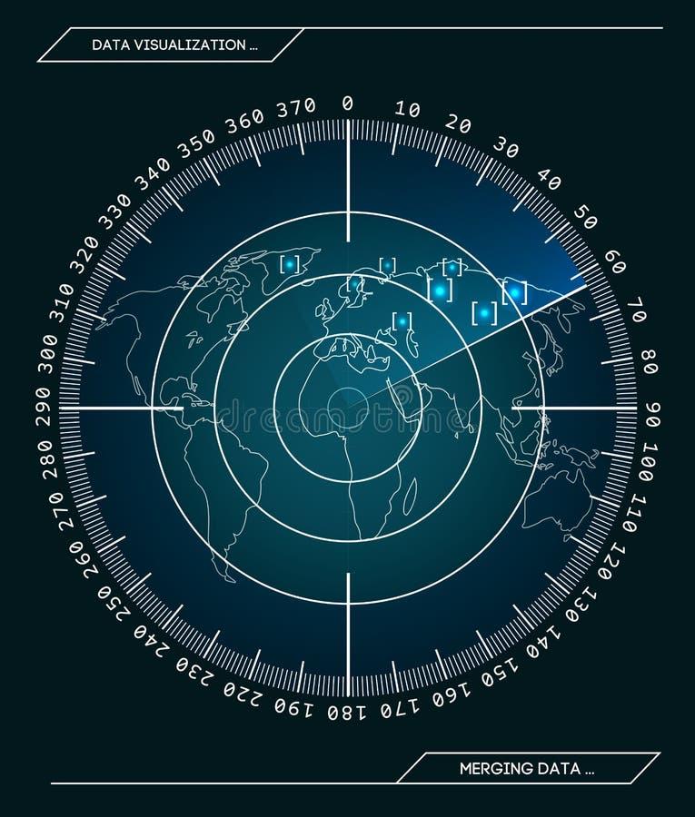 Militarny błękitny radar Ekran z celem Futurystyczny Hud interfejs projekta ilustraci zapasu use wektor twój royalty ilustracja