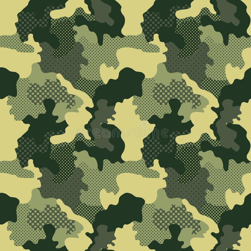 Militarny bezszwowy wzór tło kamuflażu square bezszwowe kafli Camo mody tekstura amerykański żołnierz ilustracji