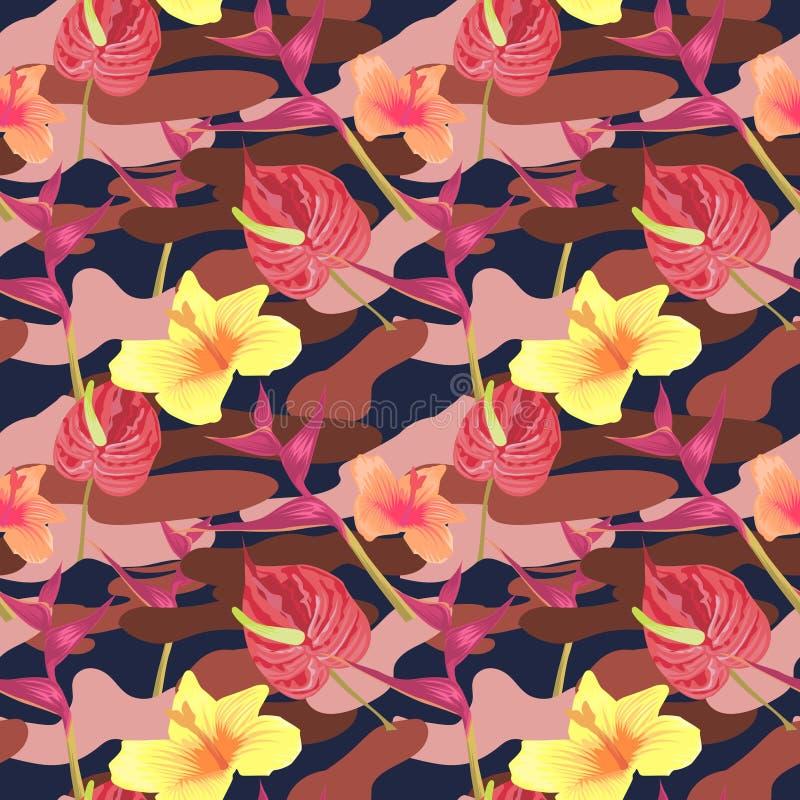Militarny Bezszwowy wzór z Tropikalnymi kwiatami tło kamuflażu square bezszwowe kafli Camo mody tekstura amerykański żołnierz ilustracja wektor