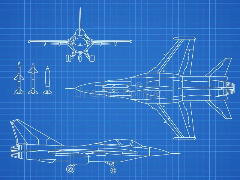 Militarny dżetowego samolotu projekta rysunkowy wektorowy projekt ilustracja wektor