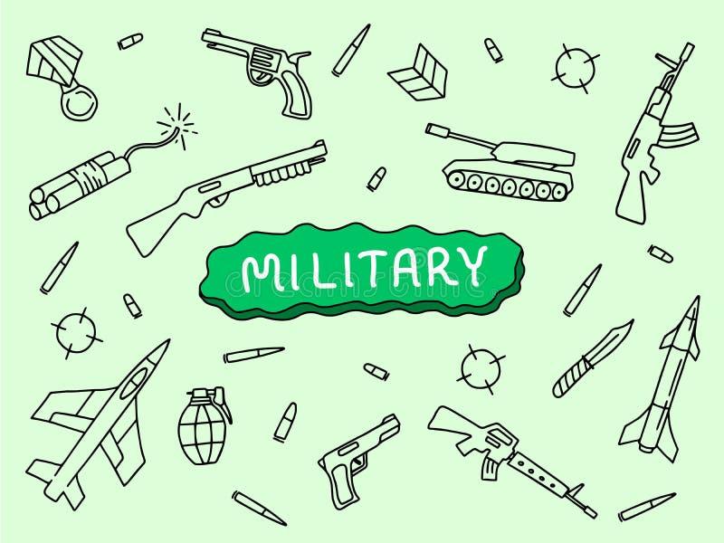 Militarny doodle sztuki ręki nakreślenie z cysternowym riffle samolotem z sztandaru tekstem z zielonym tłem ilustracja wektor