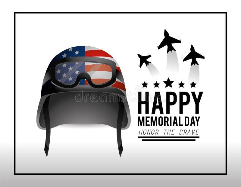 Militarny hełm i samoloty dzień pamięci ilustracja wektor