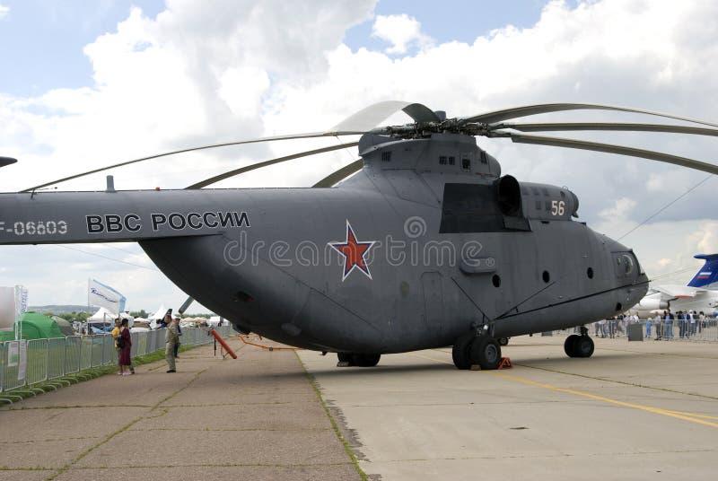 Militarny helikopter przy MAKS Międzynarodowym Kosmicznym salonem MAKS-2017 zdjęcie stock