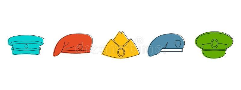 Militarny nakrętki ikony set, koloru konturu styl royalty ilustracja