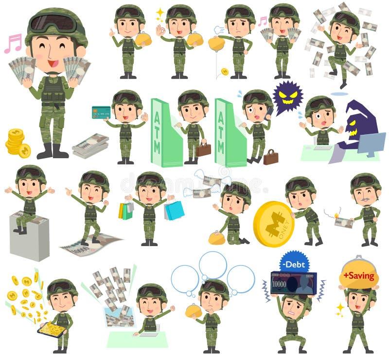 Militarny odzież mężczyzna pieniądze ilustracja wektor