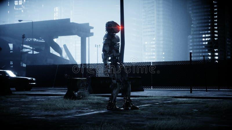 Militarny robot w zniszczonym mieście Przyszłościowy apocalypse pojęcie świadczenia 3 d ilustracja wektor