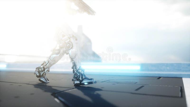 Militarny robot z armatnim odprowadzeniem Futurystyczny miasto, miasteczko świadczenia 3 d ilustracja wektor
