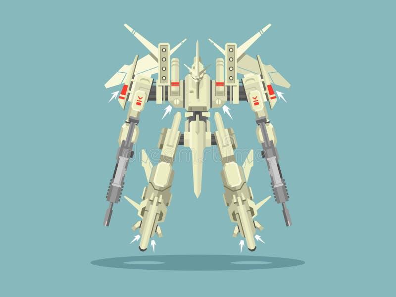 Militarny robota transformator ilustracji