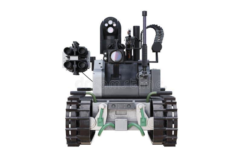 Militarny robota zbiornik, frontowy widok ilustracja wektor