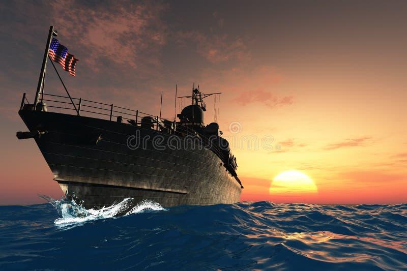 militarny statek ilustracji