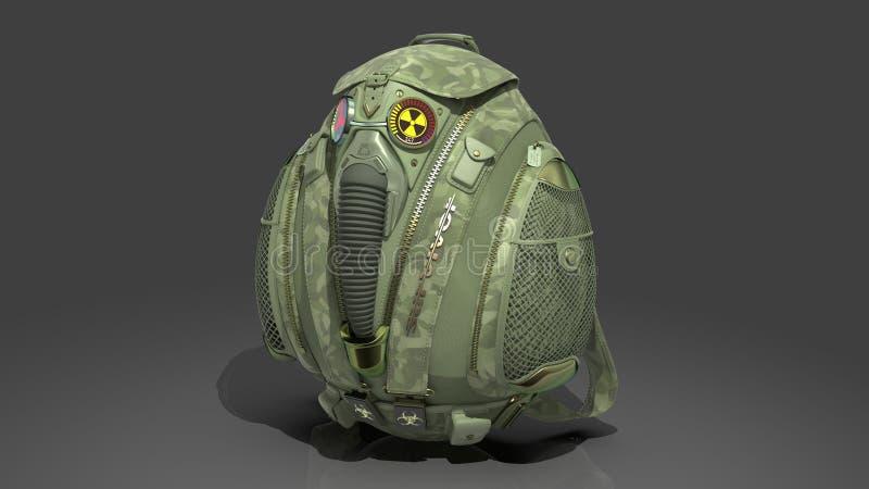 Militarny survivalist plecak w kamuflaż tkaninie z dekoracyjną maską gazową i Geiger kontuarem ?wiadczenia 3 d ilustracja wektor
