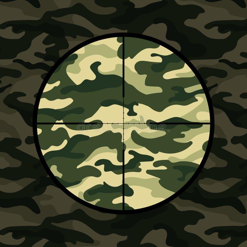 Militarny tło z snajperskim zakresem na zielonym kamuflażu ilustracji