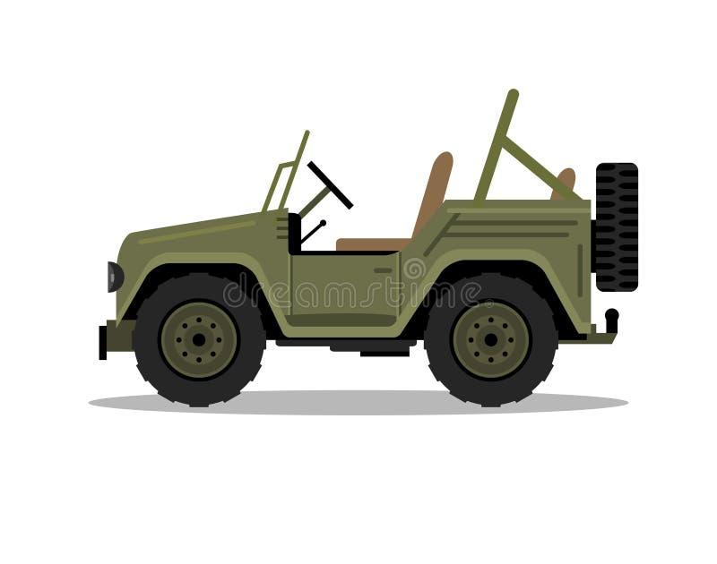 Militarny wojsko dżip samochodowy pojazd Humvee hummer wektorowa kreskówka safari oddroad ciężarówka płaska ilustracja ilustracji
