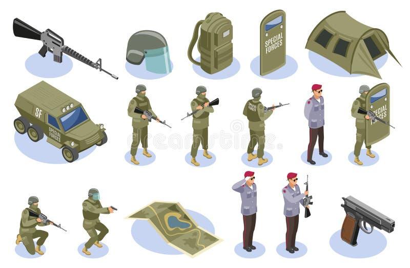 Militarnych jednostek specjalnych Isometric ikony ilustracja wektor