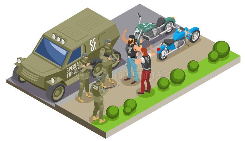 Militarnych jednostek specjalnych Isometric skład royalty ilustracja