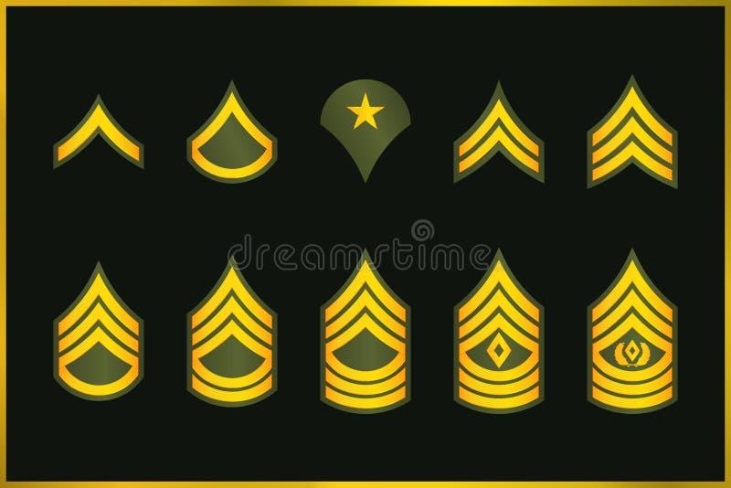 Militarnych kategorii szewrony i lampasy Wektoru wojska Ustalona insygnia ilustracji