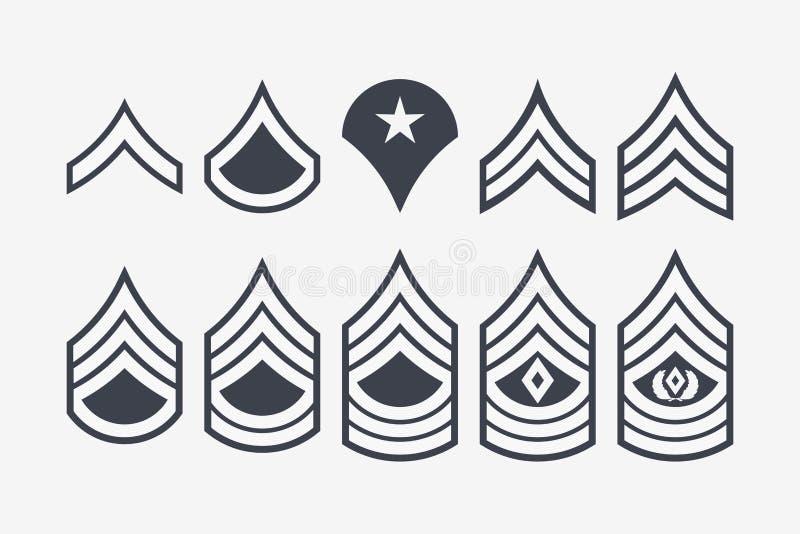 Militarnych kategorii szewrony i lampasy Wektoru wojska Ustalona insygnia royalty ilustracja