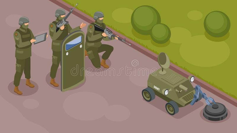 Militarnych robotów Isometric skład ilustracja wektor