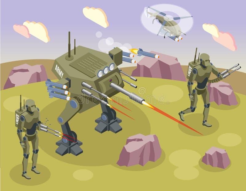 Militarnych robotów Isometric tło royalty ilustracja