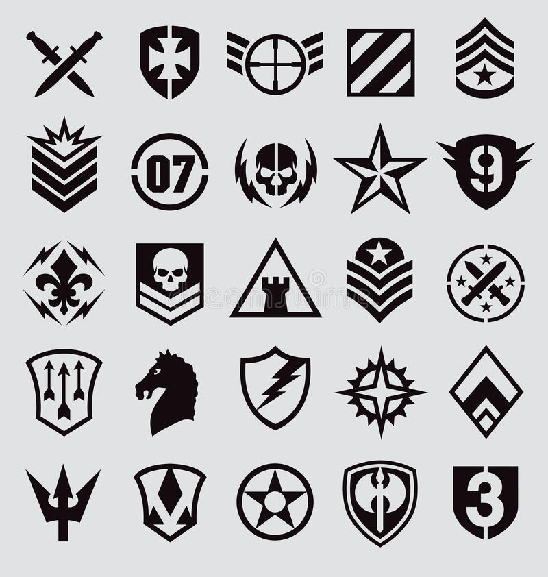 Militarnych symboli/lów ikona ustawiająca na szarość royalty ilustracja