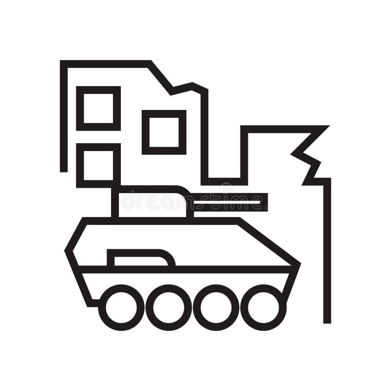 Militartank in het pictogram vectordieteken van de stadsstraat en symbool op witte achtergrond, Militar-tank in het embleemconcep vector illustratie