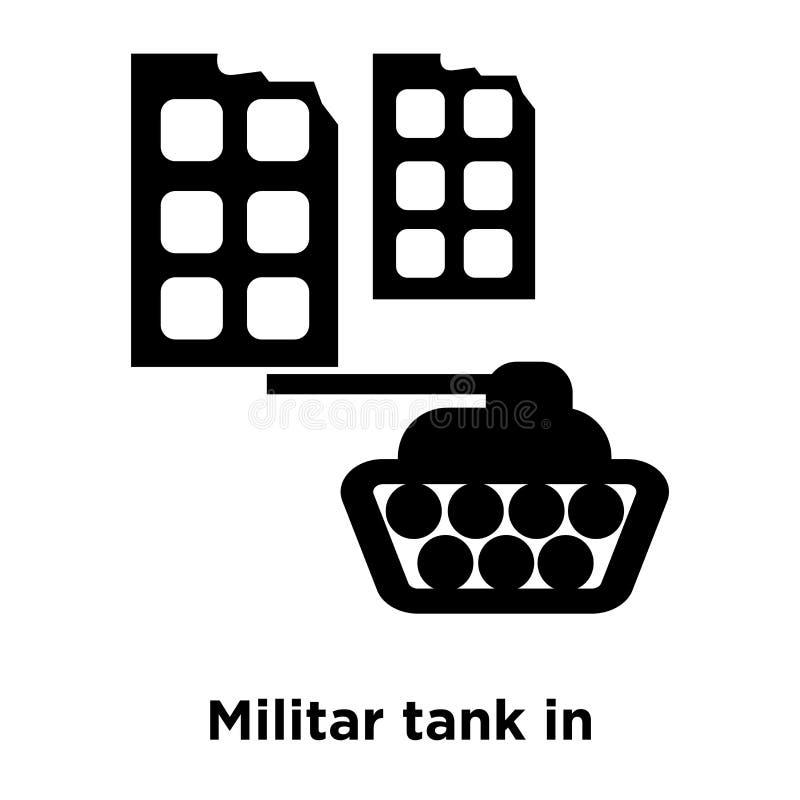 Militartank in het pictogramvector van de stadsstraat op witte backgr wordt geïsoleerd die royalty-vrije illustratie