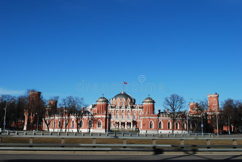 Military and air academy of N.E. Zhukovsky. Former Petrovsky access palace. Moscow. Russia royalty free stock image