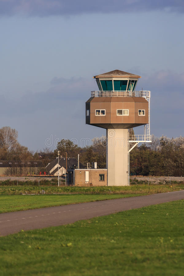 Military air traffic control tower. Air traffic control tower at outer part of military airport stock photography