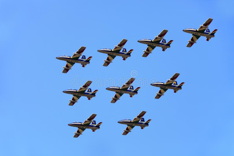 Military airbase Cameri, the Italian acrobatic team `Frecce Tricolori` during an airshow stock photos