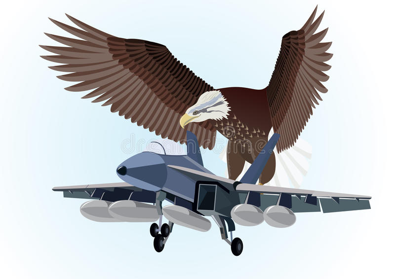 Military aircraft. Military aircraft flying in the background of an eagle with outstretched wings stock illustration