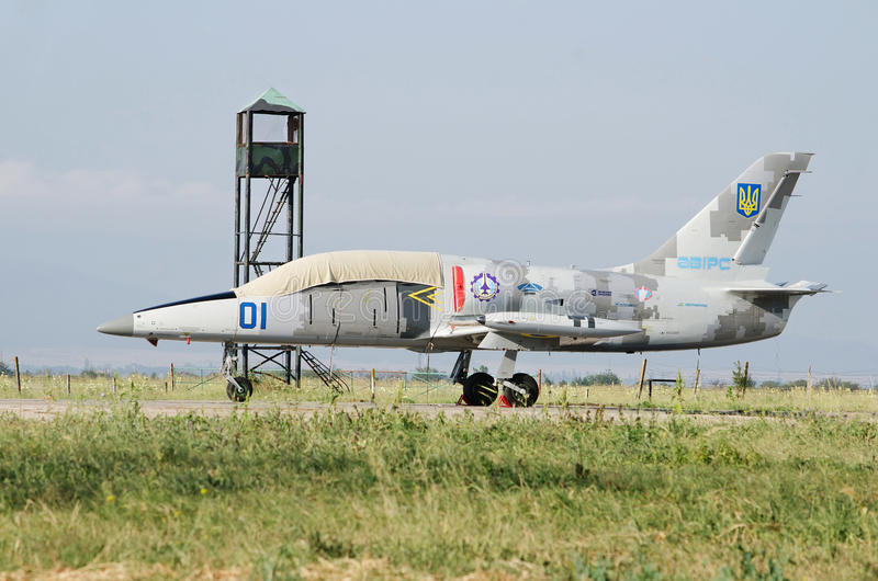 Military aircraft Aero L-39 Albatros at airport. Military aircraft Aero L-39 Albatros parked military airport on August 11, 2013 in Feodosia, Crimea, Russia royalty free stock photo