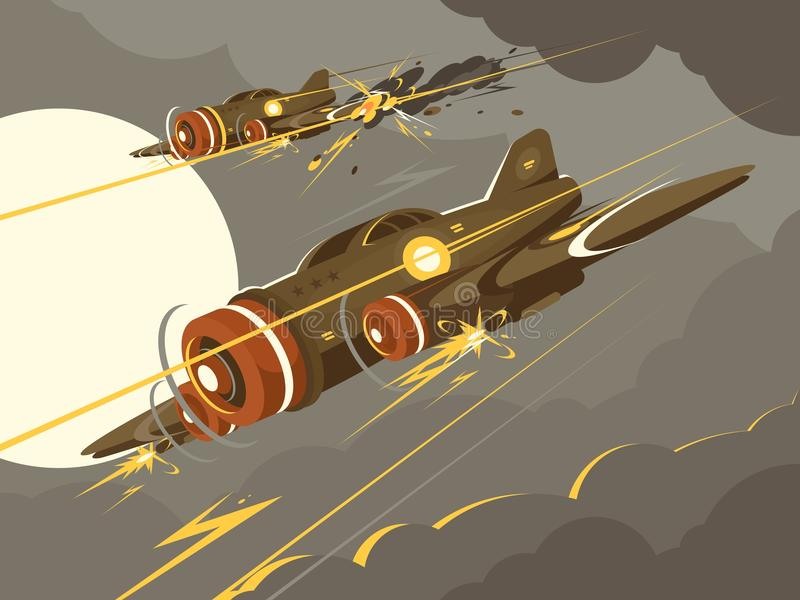 Military aircraft in air combat. Attacking plane in sky. Vector illustration vector illustration