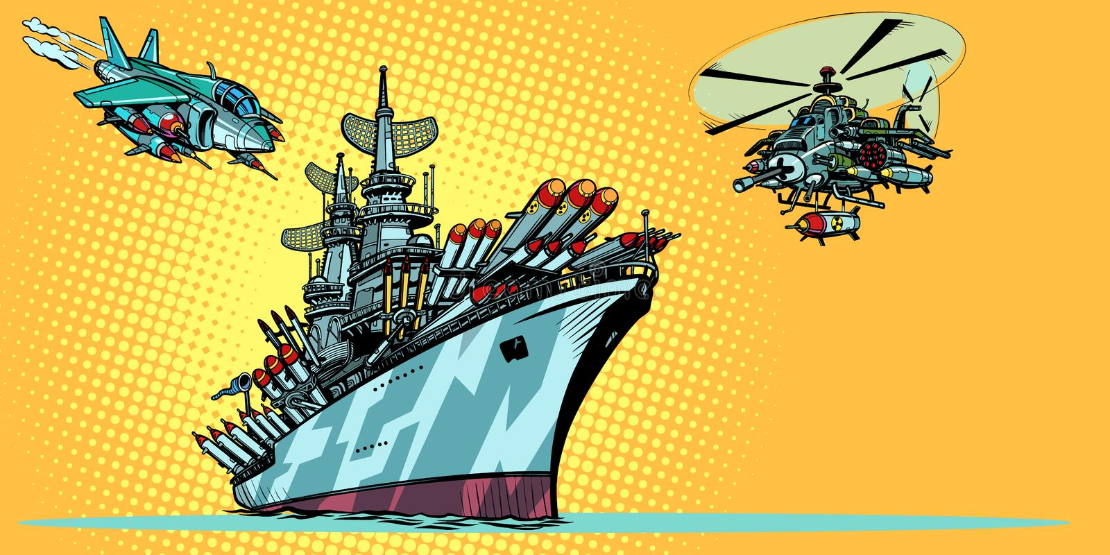 Military aircraft carrier with fighter jets and helicopters royalty free illustration