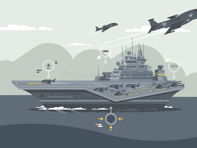 Military aircraft carrier. Huge warship with airplanes and helicopters. Vector illustration vector illustration
