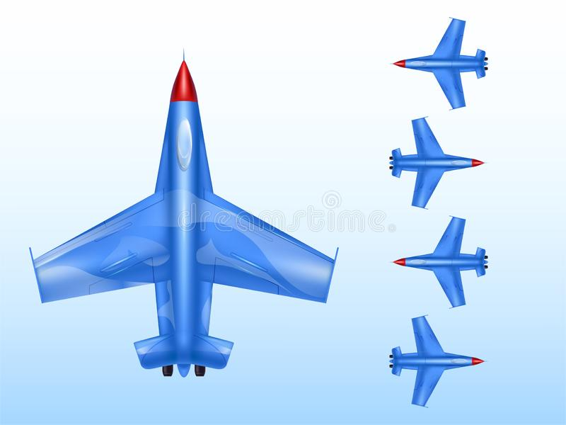 Military aircraft illustration of wartime aviation and combat airplane or supersonic bomber jet icons. Military aircraft illustration of wartime aviation and vector illustration