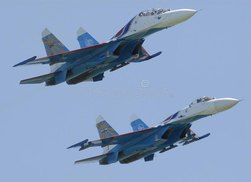 Military aircraft SU-27 in flight at an Airshow. Pushkin 2007, Russia. stock images