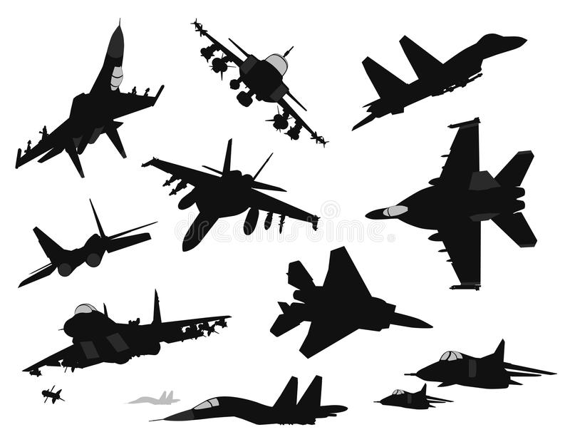 Military aircrafts set stock illustration
