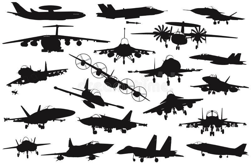 Military aircrafts set vector illustration