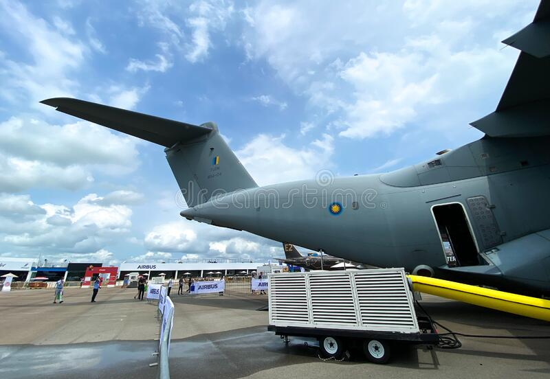 Military aircrafts standing for display stock images