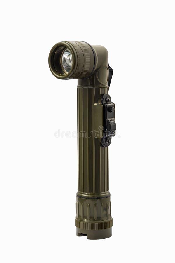 Military angle head flashlight with clipping path stock photos