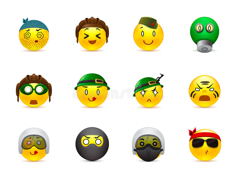 Military anime smilies. Set of yellow round anime smiles on the theme of war. Smilies in camouflage and with a variety of weapons in the hands of royalty free illustration