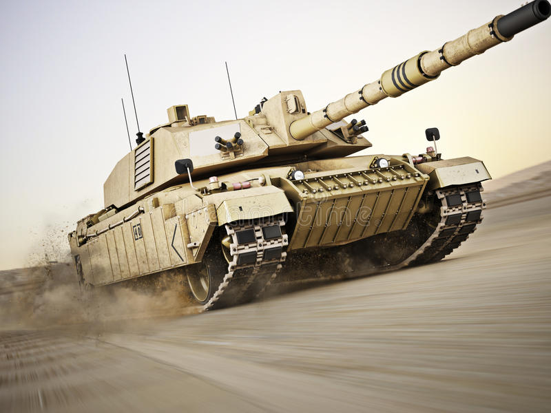 Military armored tank moving at a high rate of speed stock photography