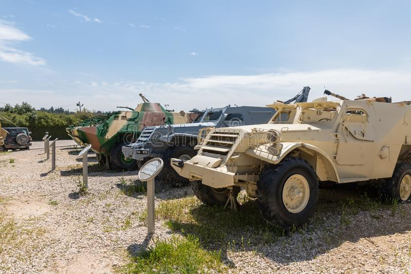 Military armored vehicles are on the Memorial Site near the Armored Corps Museum in Latrun, Israel stock photography
