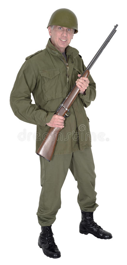 Download Military Army Soldier With Gun And Smile, Isolated Stock Image - Image of standing, face: 31632411