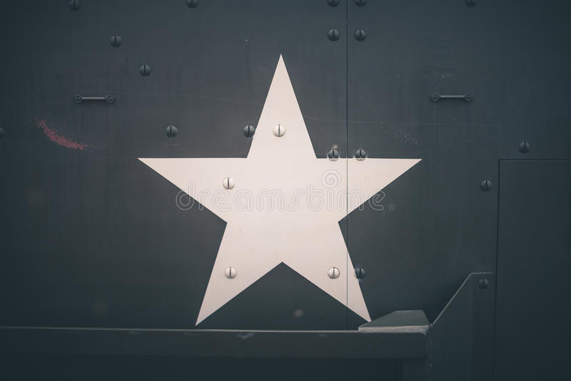 Military army star. On green vehicle door royalty free stock images