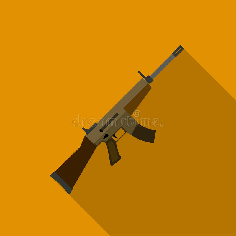 Military assault rifle icon in flat style isolated on white background. Military and army symbol stock vector vector illustration